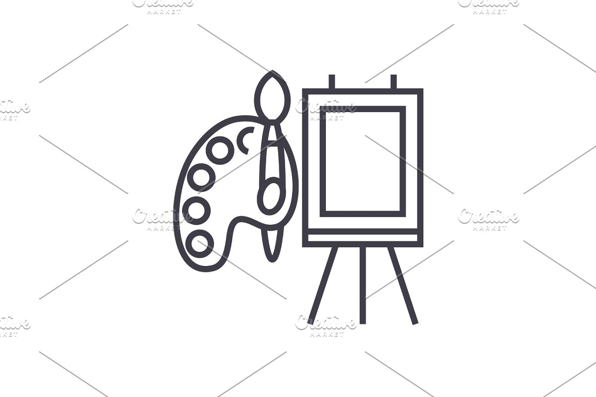 molbert and palette with brush vector line icon, sign, illustration on background, editable strokes