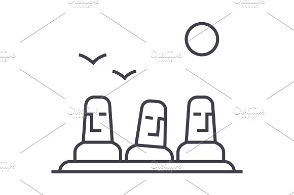 monolith,megalith vector line icon, sign, illustration on background, editable strokes