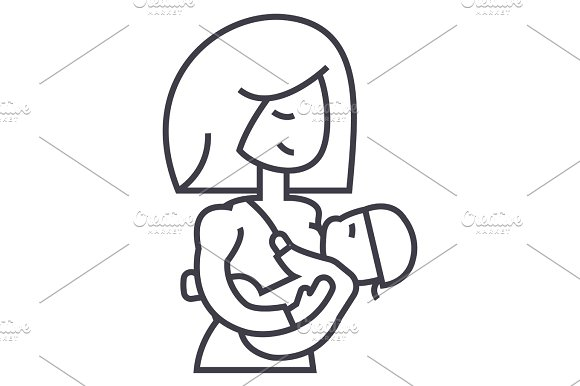 mother breastfeeding baby vector line icon, sign, illustration on background, editable strokes in Icons
