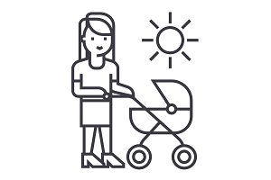mother with baby stroller vector line icon, sign, illustration on background, editable strokes