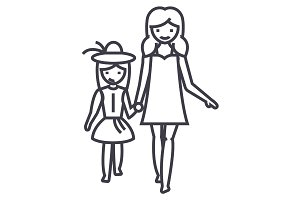 mother with daughter on vacation vector line icon, sign, illustration on background, editable strokes