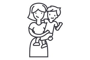 mother with son,mum with kid vector line icon, sign, illustration on background, editable strokes