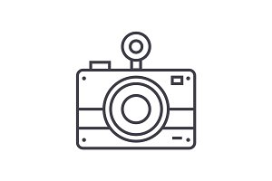 photo camera vector line icon, sign, illustration on background, editable strokes