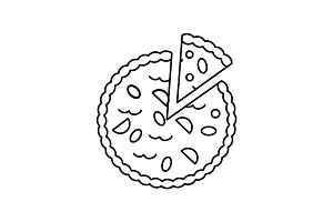 pie bakery vector line icon, sign, illustration on background, editable strokes