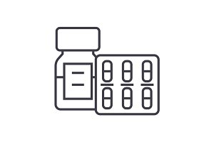 pills and tablets and bottle vector line icon, sign, illustration on background, editable strokes