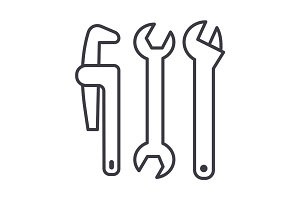plumbing tools vector line icon, sign, illustration on background, editable strokes