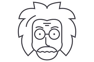 professor,einstein,scientist,freak vector line icon, sign, illustration on background, editable strokes