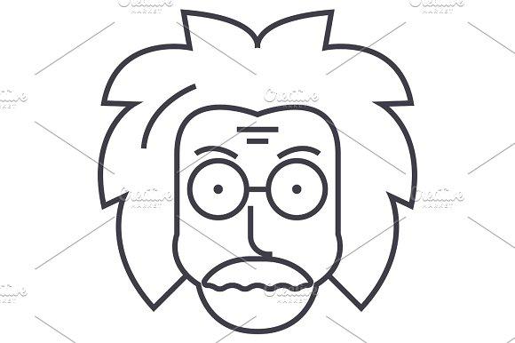 Professor Einstein Scientist Freak Vector Line Icon Sign Illustration On Background Editable Strokes