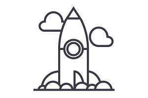 project rocket launch vector line icon, sign, illustration on background, editable strokes