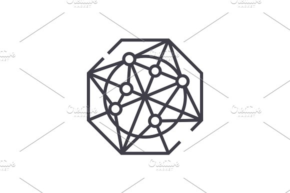 radar charts vector line icon, sign, illustration on background, editable strokes
