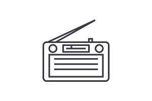 radio,radioreceiver vector line icon, sign, illustration on background, editable strokes