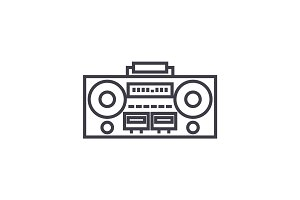 record tape player vector line icon, sign, illustration on background, editable strokes