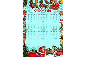 Christmas calendar with New Year holiday sketches