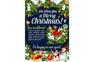 Merry Christmas vector celebration greeting card