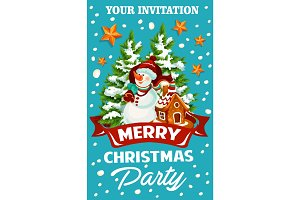 Christmas holiday celebration party invitation