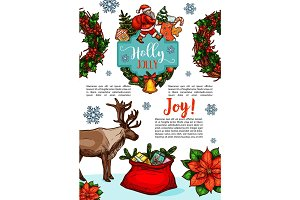 Christmas holiday wish vector sketch greeting