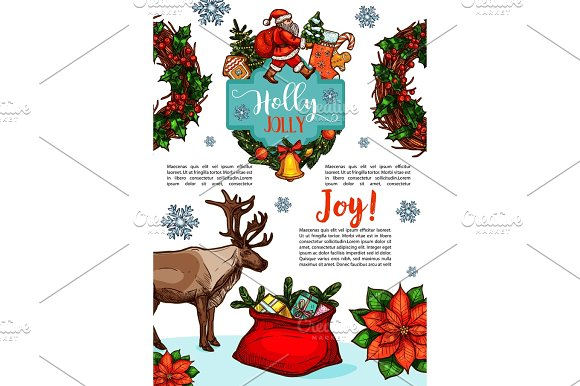 Christmas Holiday Wish Vector Sketch Greeting