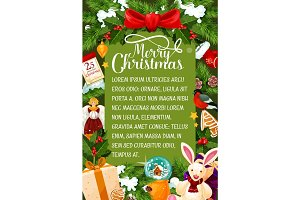 Merry Christmas wishes vector greeting card