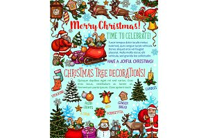 Christmas tree sketch poster of New Year holiday