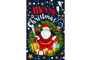 Merry Christmas holiday Santa vector greeting card