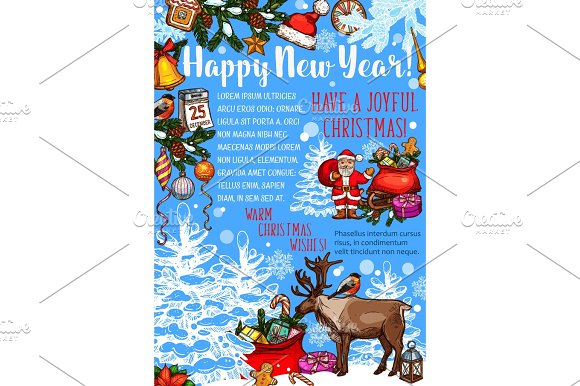 New Year And Christmas Holiday Greeting Poster