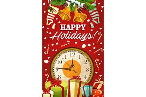 Christmas holiday bell and gift greeting card