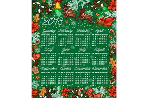 Merry Christmas sketch vector 2018 calendar