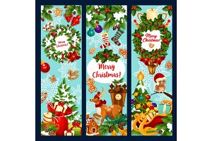 Christmas tree wreath with gift greeting banner