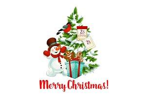 Merry Christmas tree decoration vector icon