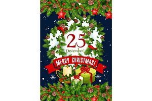 Merry Christmas holidays vector greeting card