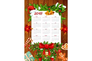 Christmas holiday calendar on wooden background