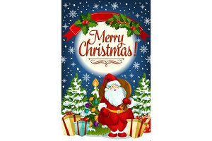 Christmas greeting card of Santa and New Year gift