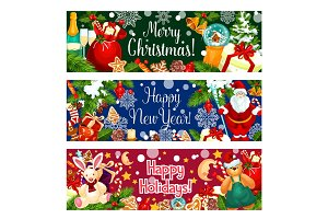 Christmas and New Year holidays greeting banner