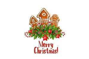 Merry Christmas vector gingerbred greeting icon