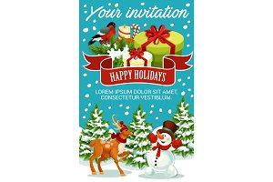 Christmas and New Year party invitation template