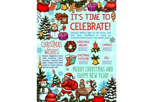 Christmas and New Year holiday card with greetings