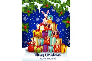 Christmas gift greeting card for winter holidays