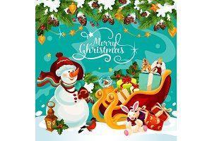 Christmas snowman gift vector greeting card