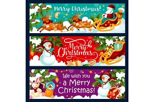 Christmas winter holidays vector greeting banners