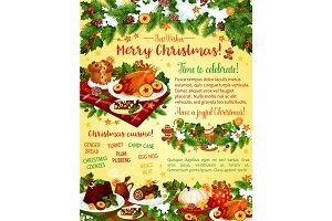 Christmas dinner celebration vector greeting card