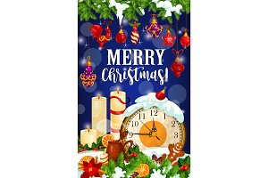Christmas candle card for New Year winter holidays