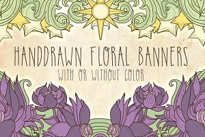 Handdrawn Floral Banners