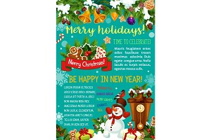 Winter holiday Santa gifts vector greeting card