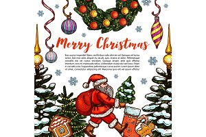 Merry Christmas holiday sketch vector greeting