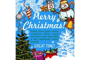 Christmas greeting card for New Year holidays