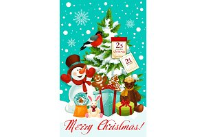 Winter Christmas holiday snowman vector greeting card