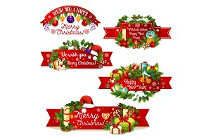 Christmas New Year vector greeting ribbon icons