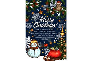 Merry Christmas vector greeting card Santa gifts