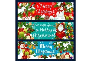Merry Christmas Santa holiday gifts vector banners