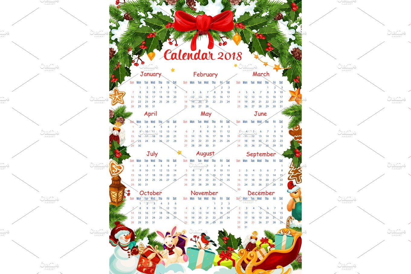 christmas holiday 2018 calendar vector template